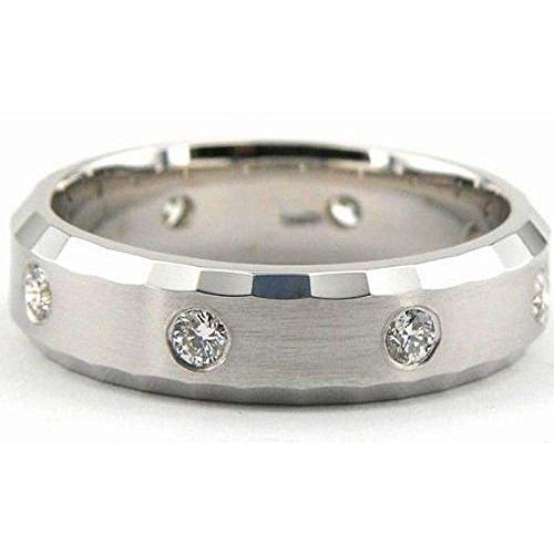 6 Mm Platinum Diamond (950 Platinum 6mm Diamond Wedding Bands Rings 1951 - Size 8.5)