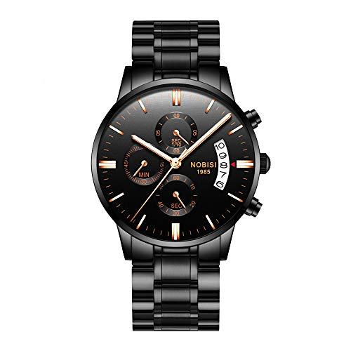 GCtown Men's Watches Sports Luxury Chronograph Waterproof Military Quartz Wristwatches for Men Rose Gold Hands Black Color 2309-QHMDgd