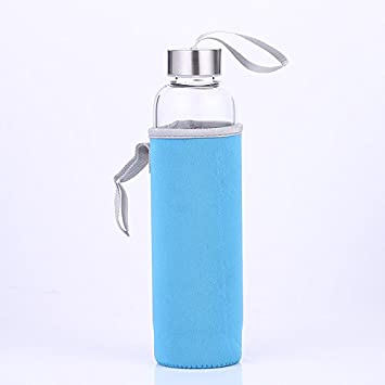 Botella de agua con infusor de cristal, sin BPA, sin plomo con hecho a mano con funda de nailon: Amazon.es: Deportes y aire libre