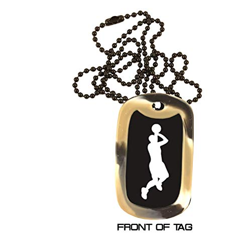 Basketball Dog Tag Necklace - Custom Engraved Personalized Colored Anodized Aluminum Necklace