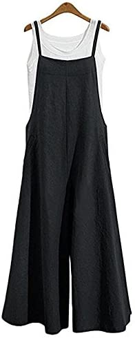 Aedvoouer Women's Baggy Plus Size Overalls Cotton Linen Jumpsuits Wide Leg Harem Pants Casual Rompers
