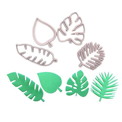 Cheng-store 4pcs Candy Cake Mold Tropical Leaf Embossed Molding Tools for Candy Biscuit Cookie Cutter Mould DIY Decorative Baking ()