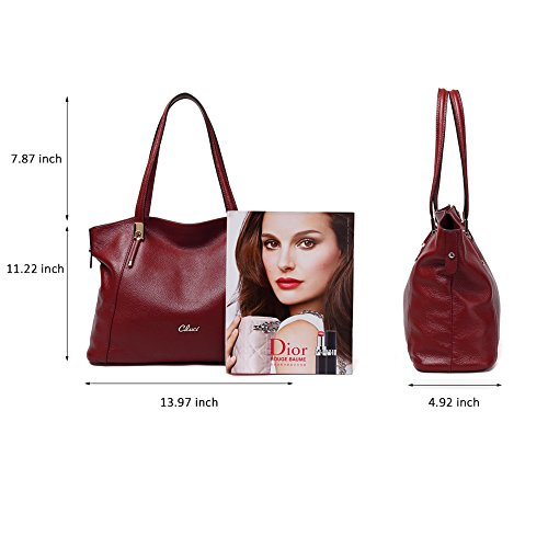 Purse Satchels Women Red Handle Leather Shoulder Top Wine Ladies Bag Designer Bag 1 Tote Handbags Rq80wnR4