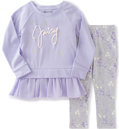Juicy Couture Little Girls' Cotton Chiffon Tunic with Printed Legging, Lilac, (Kids Couture Clothing)