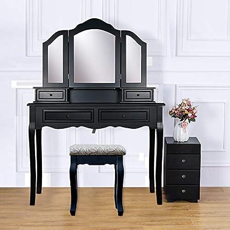 Amazon.com: YK Decor Vanity Table Set, Vanity Beauty Station ...