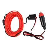 TOOGOO(R) 3 meters Electroluminescent Light El Wire String Glow Strobing Flexible Neon Light Wire EL Tape DC12V Inverter Cigarette Lighter Driver Powered For Car (red)