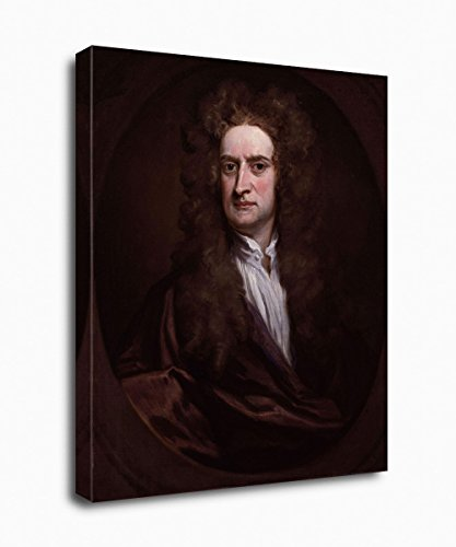 PrintFactory - Sir Isaac Newton Canvas Portrait - Famous and Inspirational People Collection, Giclee Printed on Premium Archivable Canvas and Frame - 12
