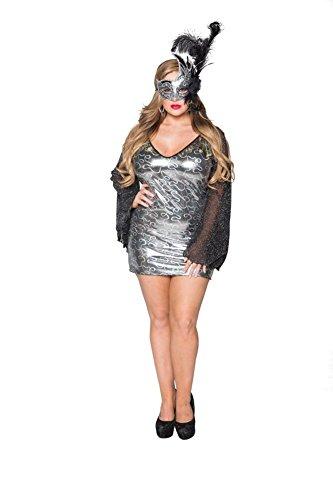 Sexy Adult Ladies Plus Size Demon Devil Ghost Masquerade Halloween Dress for Women 12X (36-38) Black/Silver