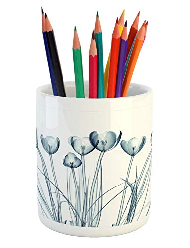 Ambesonne Flower Pencil Pen Holder, X-ray Transparent Image