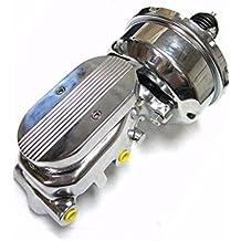 "7"" Street Rod Single Power Brake Booster w/ Center Finned Master Cylinder Chrome"