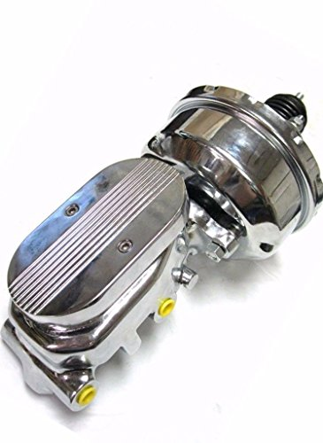 "7"" Street Rod Single Power Brake Booster w/Center Finned Master Cylinder Chrome"