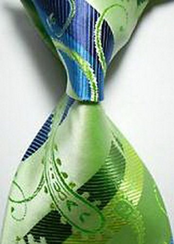 Jacob AleX #47201 Costume Geometric Green JACQUARD WOVEN Necktie (Voodoo Queen Costume)