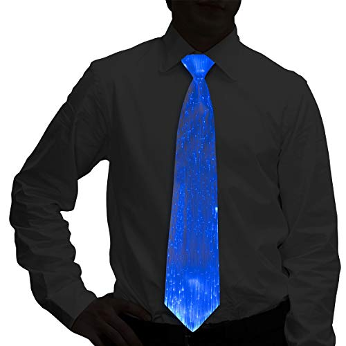 Light Up Neck Tie, LED Neck Tie, Glow in the Dark Necktie - USB Rechargeable for Party Rave, Christmas, Halloween - White Fiber Optic Neck Tie with 7 Lighting Show -