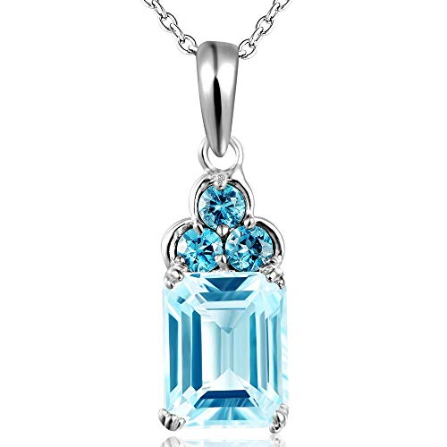 GYXYZB 925 Sterling Silver Necklace Natural Sky Blue Topaz 4.2 Carat 8 10Mm Water-Drop Pendant Necklace for Women - Heart 4.2 Ct
