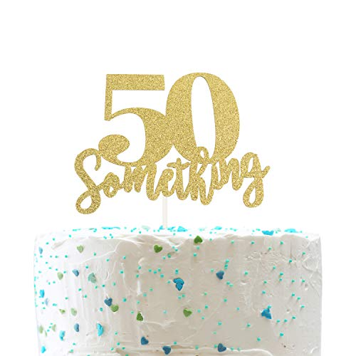 50 Someting Cake Topper, Happy 50th Birthday Sign,Forever 50 Cake Topper,Hello 50 Party Decorations (Double Sided Gold Glitter) (Something For 50th Birthday Cake)