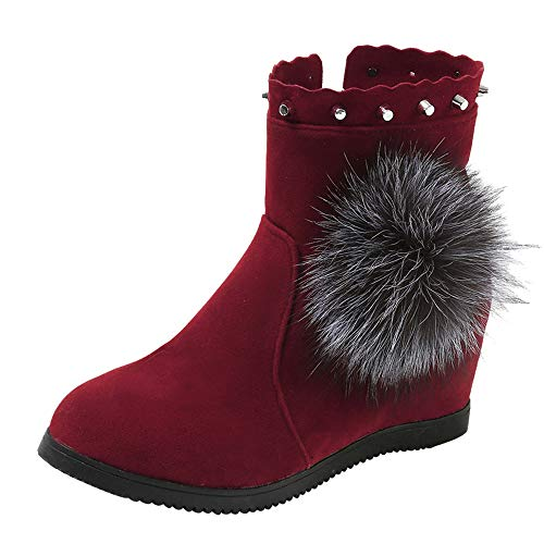 Women Zipper Keep Warm Boots,Mosunx Lady Suede Hairball Round Toe Wedges Shoes (8B(M) US, Red) by Mosunx Women Shoes