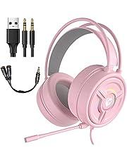 POTIKA 7.1 Fones De Ouvido Para Jogos Estéreo Surround Com Microfone, RGB Com Microfone Para Cancelamento De Ruídos Coloridos, Fones De Ouvido Para PC/laptop/ps4/xbox One, Rosa