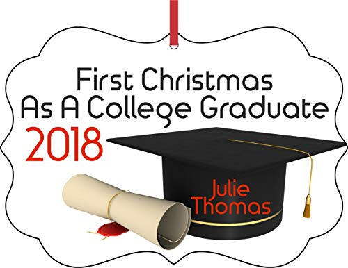 Jacks Outlet First Christmas as a College Graduate 2018 Ornaments You Can Personalize Semigloss Elegant Aluminum Glossy Christmas Ornament Tree Decoration - Customize Your - Ornaments Aluminum Can
