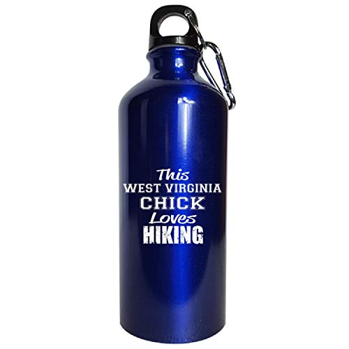 This West Virginia Chick Loves Hiking - Water Bottle Metallic Blue