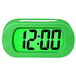 ZHPUAT Kids Digital Alarm Clock with Snooze, Simple Setting, Progressive Alarm, Battery Operated,Colorful Light, The Alarm Clock For Kids & Convenient for Bedrooms (Green)