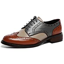 U-lite Women's Perforated Lace-up Wingtip Leather Flat Oxfords Vintage Oxford Shoes