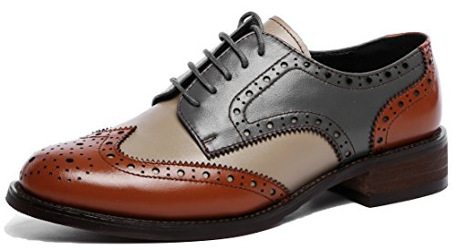 (U-lite Women's Perforated Lace-up Wingtip Leather Flat Oxfords Vintage Oxford Shoes Brogues (10, Brownblue))