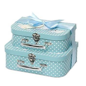 Caja de recuerdos 2 cajas con cinta de sat/én y etiqueta de mensaje azul azul
