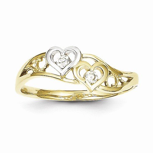Size - 8.75 - 10k Yellow & White Two Tone Gold Double Love Heart CZ Cubic Zirconia Ring (1 to 7 mm) by Sonia Jewels (Image #2)