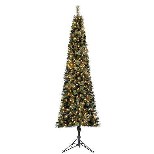 Home Heritage Cashmere 7 Foot Artificial Corner Christmas Tree with Warm Whiter LED Lights and Stand (Tree Artificial Christmas Corner)