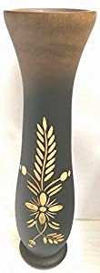 Lueat Handmade Mango Wood Vase Black Brown Design Carve Flower 12 Inch Sale