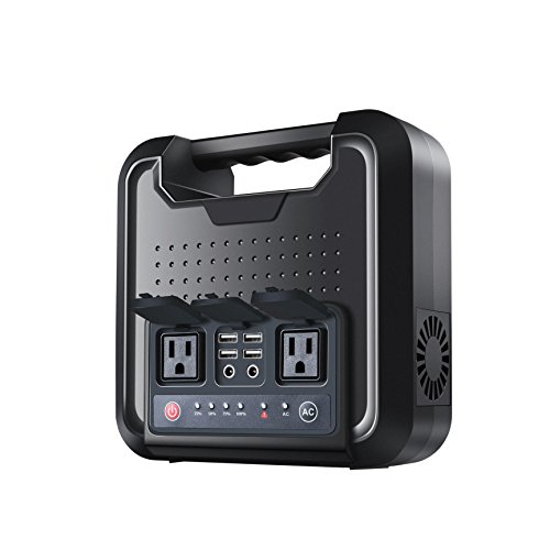 Zipom Power Generator 300W Sine Wave Portable Power Uninterruptible 220Wh Backup Power Station Generator 2 110V Outputs AC 12V DC 4 USB 5V 60000mAh Home Office Camping Travel Emergency-Black