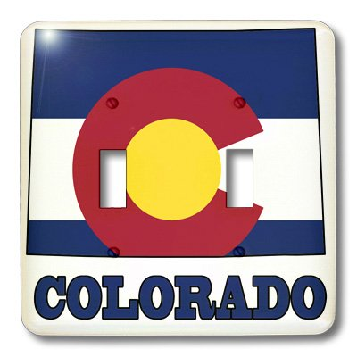 3dRose lsp/_58726/_2 Colorado State Flag In The Outline Map And Letters Of Colorado Double Toggle Switch,