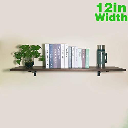 PUNCIA 48In x 12In Super Long Wall Floating Wood Kitchen Book Storage Shelf Farmhouse Wall Bookcase Shelves,Farmhouse Floating Wall Decor Kitchen Shelves (48in x 12in x 1 Tier) (Wall Long Shelf)