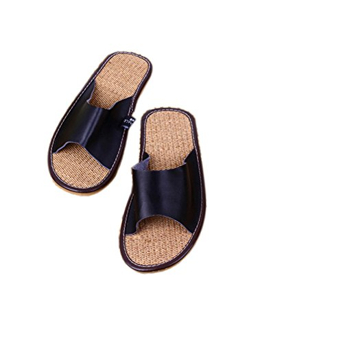 Tellw Lederen Paar Slippers Lente Zomer Vrijetijdsbesteding Pees Pees Zool Antislip Slippers Thuis Indoor Slippers Voor Vrouwen En Mannen Zwart