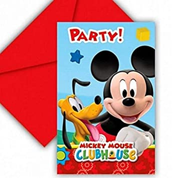 COOLMP - Lote de 6 Invitaciones de cartón Mickey Mouse ...