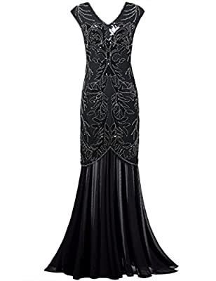 PrettyGuide Women 1920s Long Gown Black Sequin Flapper Formal Prom Dress