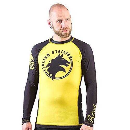 Balboa Fight Gear - Fusion FG Rocky Italian Stallion BJJ Rashguard- Yellow and Black (Large)