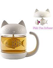 Tasse à thé en verre de chat Bouteille d'eau-Avec filtre de filtre à infusion de pain de poisson 250ML (8 oz) (Blanc)