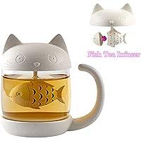 Cat Glass Tea Mug Water Bottle-with Fish Tea Infuser Strainer Filter 250ML(8OZ) (White)