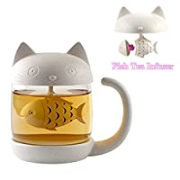 Tazza di tè alla tazza di vetro del gatto della bottiglia dell'acqua con il filtro dell'infusore del tè del pesce Filtro 250ML (8OZ)