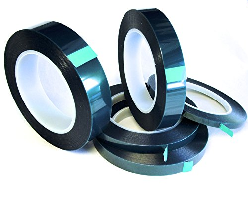 5 Roll High Temp Masking Tape Kit for Powder Coating, Painting, Hydrodip, Sublimation - Green Polyester 1/4, 3/8, 1/2, 3/4 & (Eastwood Powder Coating)