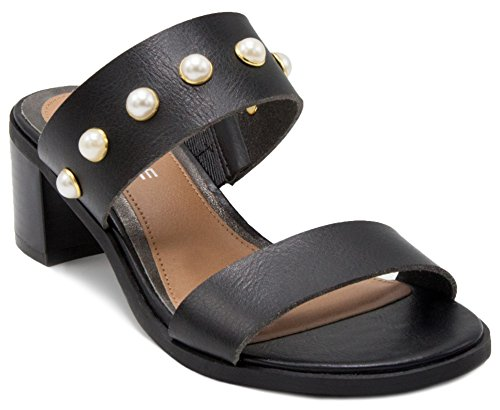 Rampage Women's Hatty Heeled Two Band Slide Sandal 8.5 Black with Studs
