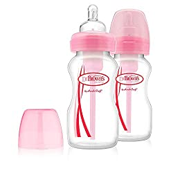 Dr Brown's BPA Free Options 2 Pack 9 Ounce Wide Neck Bottles - Pink