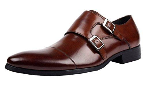 Jsix Hombre Sin Cordones Con Dos Hebillas Formales Zapatos De Vestir De Piel