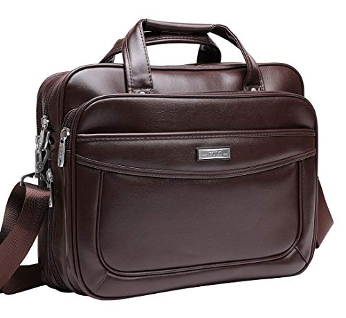 Leather Laptop Briefcase 16 inch,BOLO ARES Water Resistant Large & Expandable Shoulder Bag Business Handbag Messenger Bag for 15.6 inch Laptop (BC1-Brown)