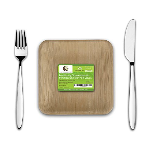Palm Leaf Paper Plates: Compostable, Biodegradable Heavy Duty Dinner Party Plate - Comparable to Bamboo Wood - Elegant Plant Based Dishware: (25 Pack) (Small Leaf Bowl)
