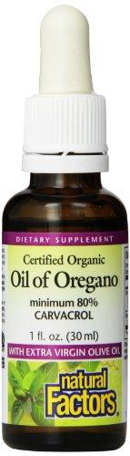Factores naturales - aceite de orégano, certificada orgánica, 1 onza líquida