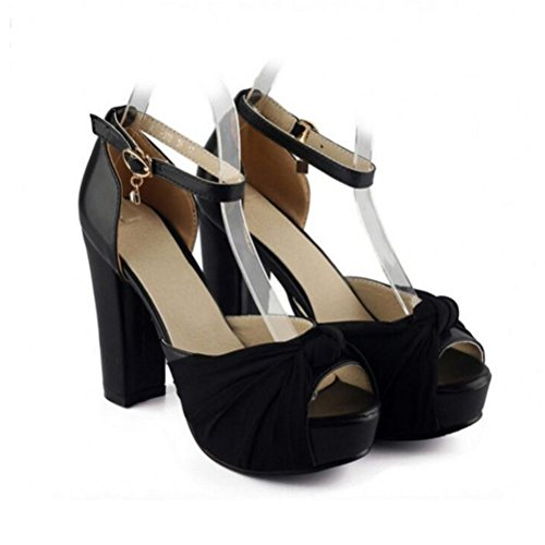 Grande Princesse 42 Peu Bouche Chaussures Femmes forme Boucle Poissons 43 Talons Sandales Profonde 40 Plate Pais Fond Black Tanche 41 Xdgg Taille ZfSHqO