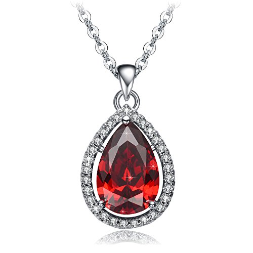 Christmas Gifts for Women NEEMODA Red Pendant Necklace for Girls Fashion Jewelry Cubic Zirconia Gift for Her Birthday Anniversary Valentines Day White Gold Plated