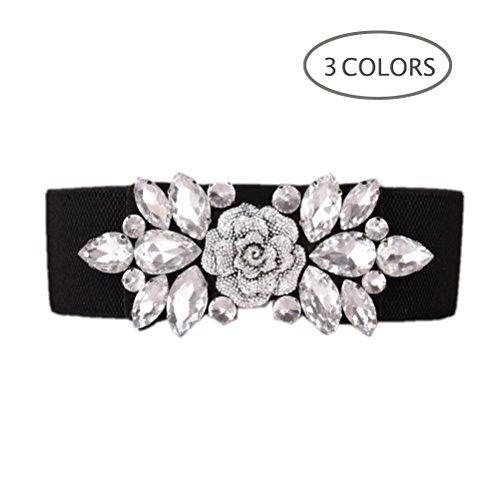 Dorchid Women Retro Belts Rhinestone Cummerbunds Floral Crystal Interlocking Waistband Stretch belt for Female White S ()